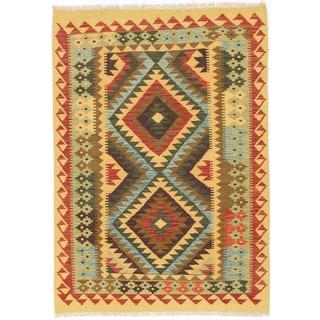 eCarpetGallery Multicolored Wool/Cotton Handwoven Kashkoli Kilim Rug (3'5 x 4'9)