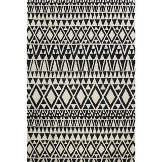 Ana Ivory/Black Wool Tufted Area Rug (9' x 12')