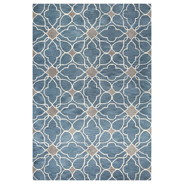Shop Kiara Grey Blue Tufted Wool Area Rug 9 X 12