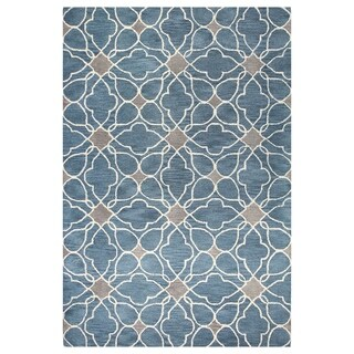 Kiara Grey/Blue Tufted Wool Area Rug (9' x 12')