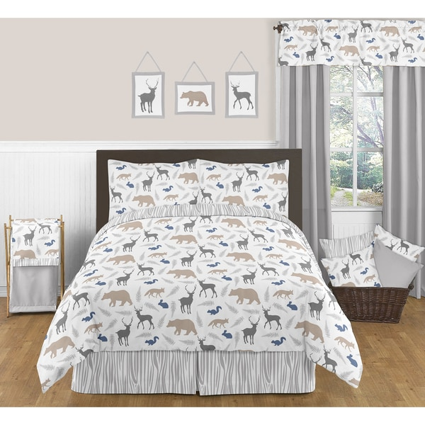 Sweet Jojo Designs Woodland Animals Full Queen Size 3 Piece Comforter Set