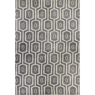 Erika Grey/Blue Tufted Wool Area Rug (9' x 12')
