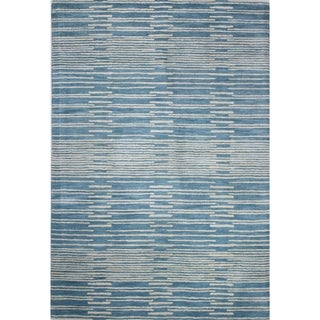 Mya Blue/Grey Wool Tufted Area Rug (9' x 12')