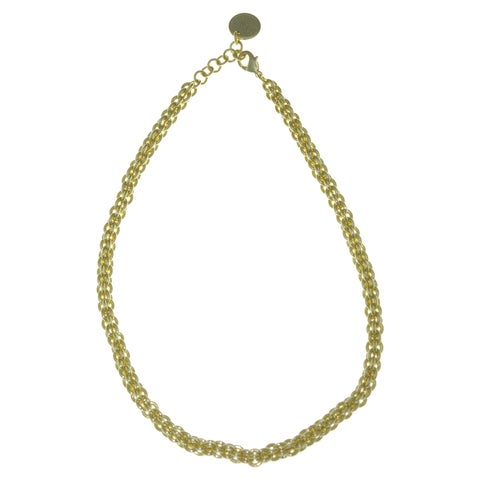 Isla Simone - 18 Karat Gold Electro Plated Small Interlock Circle Necklace