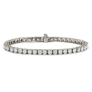 Suzy Levian 7.02 ct TDW 14K White Gold Diamond Tennis Bracelet (J-K, VVS2-VS1)