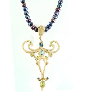 One-of-a-kind Michael Valitutti Multi-Gemstone Filigree Pendant with Pearl Strand