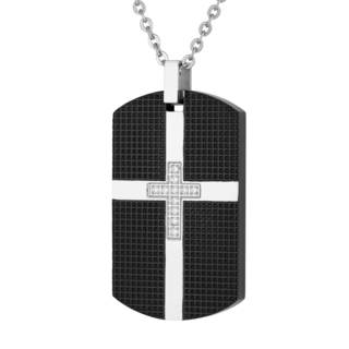 Men's Stainless Steel and Cubic Zirconia Dog Tag with Cross