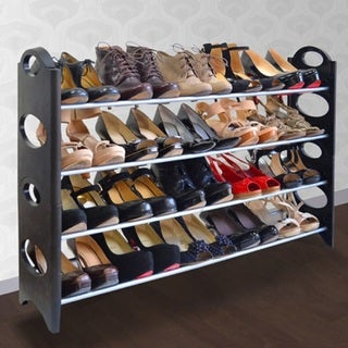 Plastic/Metal 20-pair Shoe Rack