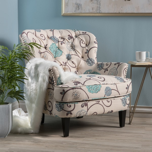 Shop Tafton Floral Fabric Club Chair By Christopher Knight