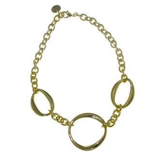 Isla Simone - 18 Karat Gold Electro Plated Choker Necklace With Large Oval And Small Circle Links