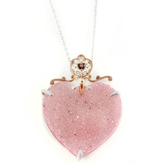 One-of-a-kind Michael Valitutti Pink Druzy Heart and Garnet Heart Pendant