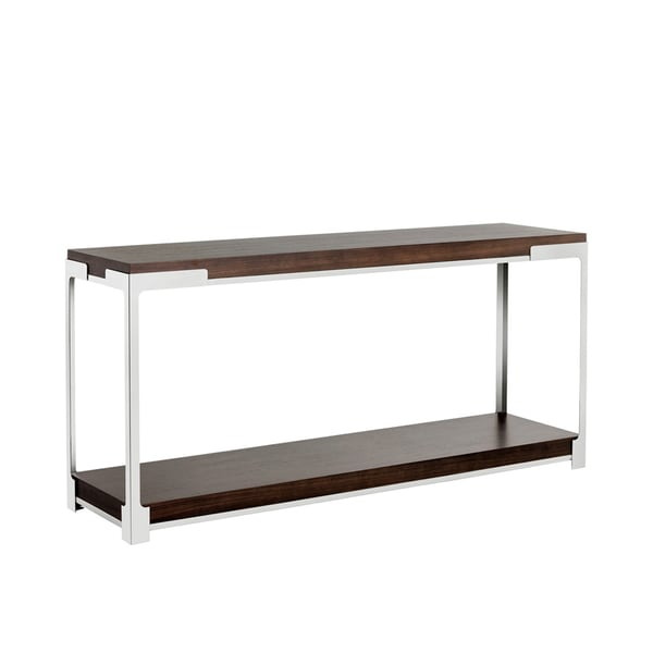 Davenport Brown Wood And Metal Zebra Finished Console Table
