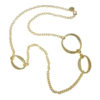 Isla Simone - 18 Karat Gold Electro Plated Long Necklace With Large Oval And Small Circle Links