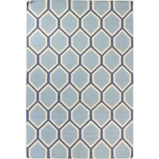 Allison Blue/Brown Wool Hand-woven Area Rug (9' x 12')