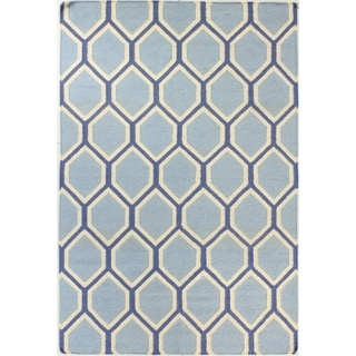 Allison Blue/Brown Wool Woven Area Rug (7'6 x 9'6)