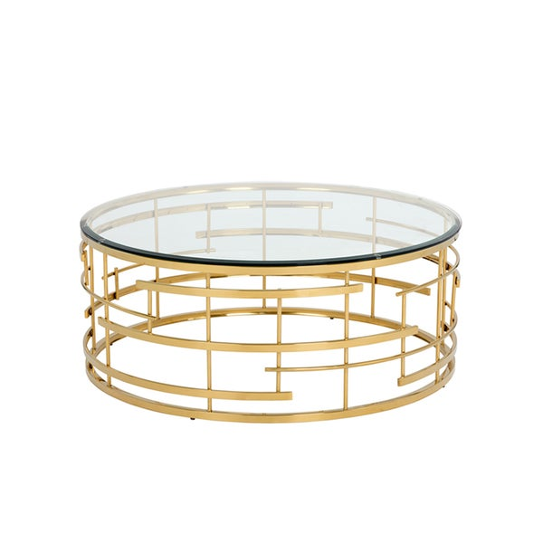 Sunpan Cielo Gold Colored Steel Round Coffee Table With Glass Top