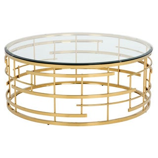 Sunpan Cielo Gold-colored Steel Round Coffee Table with Glass Top