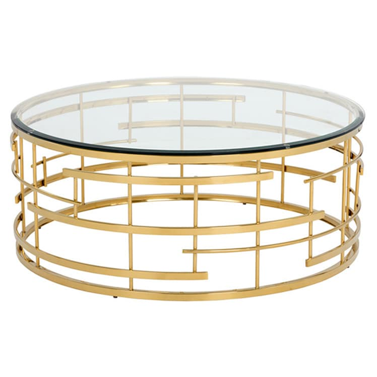 Sunpan Cielo Gold Colored Steel Round Coffee Table With Gl Top