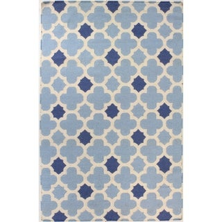 Brooke Blue Cotton Woven Area Rug (9' x 12') - 9' x 12'
