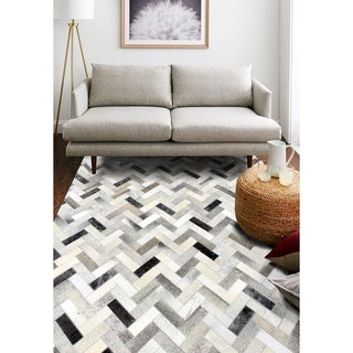 Adam Ash/Cream Leather Woven Area Rug (8' x 10')