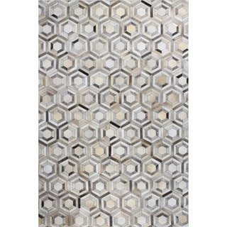 Timothy Grey Leather Woven Area Rug (8' x 10')