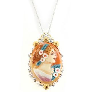 One-of-a-kind Michael Valitutti Painted Lady Cameo with Orange Sapphire Pendant