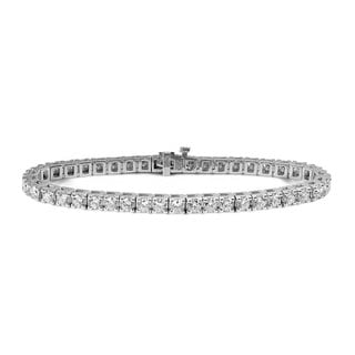 Suzy Levian 8.03 ct TDW 14K White Gold Diamond Tennis Bracelet (I-J, SI2-SI3)