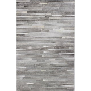 Woven Grey/Off White Leather Nathan Area Rug (8' x 10')