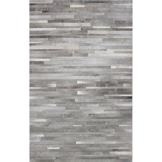 Woven Grey/Off White Cowhide Nathan Area Rug