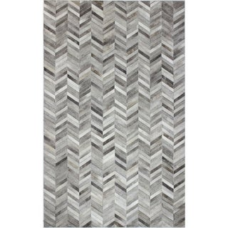 Richard White/Grey Leather Woven Area Rug (8' x 10')