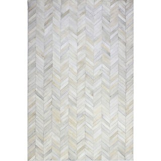 Richard White/Grey Leather/Felt Woven Area Rug (9' x 12')