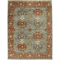 Shelby Blue Wool Hand-knotted Area Rug - 8' x 10'