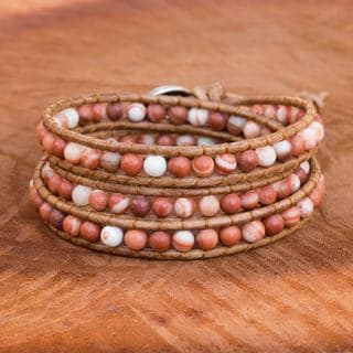Handcrafted Silver Leather 'Cozy Brown' Jasper Bracelet (Thailand)