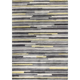 Hailey Blue/Brown/Ash Tufted Wool Area Rug (9' x 12')