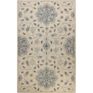 Sarina Ivory/Blue Tufted Wool Area Rug (9' X 12') - 9' x 12'