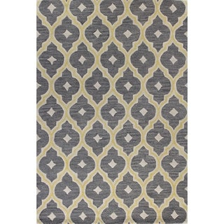 Kylie Grey/Navy/Lilac Wool Tufted Area Rug (7'6 x 9'6)