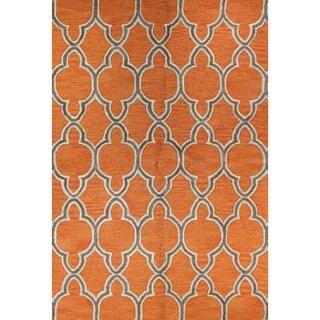 Aaliyah Grey/Orange Wool Tufted Area Rug (7'6 x 9'6)