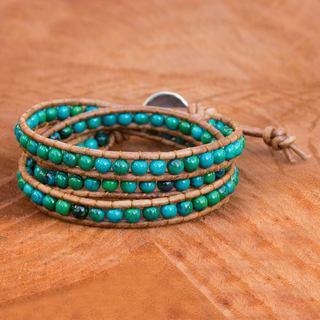 Handmade Silver Leather 'Cozy Blue' Serpentine Bracelet (Thailand)