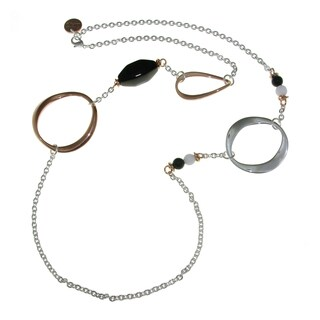 Isla Simone - 18 Karat Rose Gold and Fine Silver Electro Plated Long Eletroform Oval Necklace With Onyx