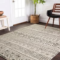 Transitional Stone Grey Moroccan Geometric Rug - 5'3 x 7'7
