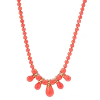 Michael Valitutti Palladium Silver Salmon Bamboo Coral Drop Necklace