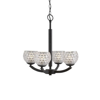 Woodbridge Lighting 14314MEB Mirage Bronze Steel and Glass 4-light Chandelier