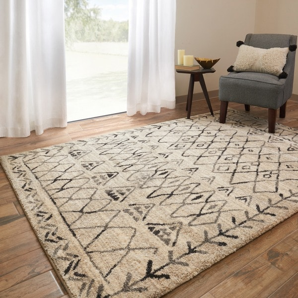 """Brently Heather Gray/ Black Abstract Rug - 5'3"""" x 7'7"""""""