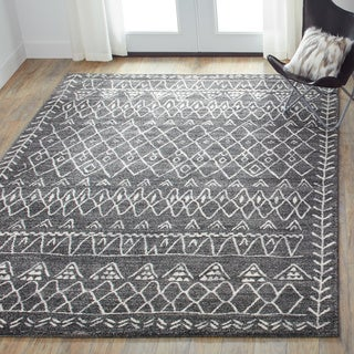 Brently Black/ Ivory Abstract Rug (7'7 x 10'6)