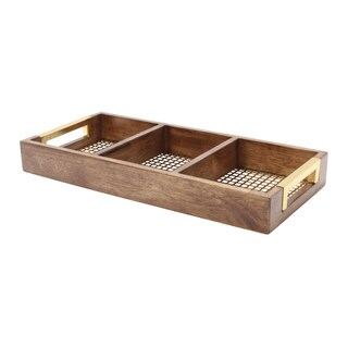 Kate and Laurel Hanneli Perforated Metal and Walnut Wood 18-inch Divided Tray