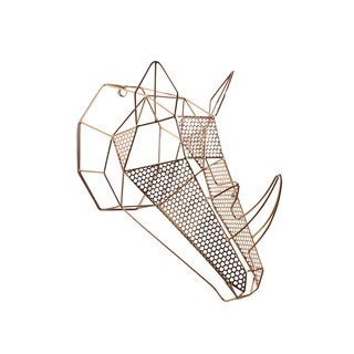 Orbie Rose Gold Metal Geometric Mounted Rhino Head Wall Sculpture