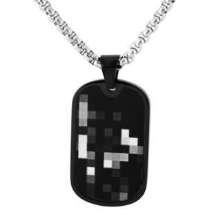 Men's Stainless Steel and Black Camo Dog Tag