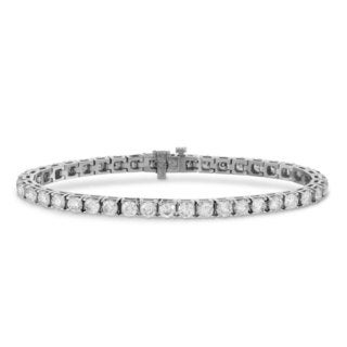 Suzy Levian 10.01 ct TDW 14K White Gold Diamond Tennis Bracelet (J-K, VVS2-VS1)