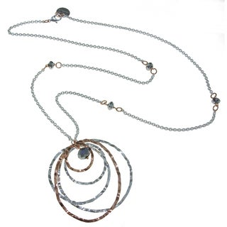 Isla Simone - 18 Karat Rose Gold and Fine Silver Electro Plated Long Necklace With Waffle Rings And Faceted Beads
