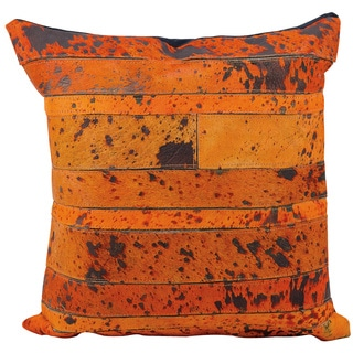 Mina Victory Natural Leather and Hide Acidwash Stripe Orange Throw Pillow (20-inch x 20-inch) by Nourison